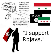 "Stupid anarchists. Thank you Tankie Wives.: A strong and  independent  Syria free to  determine its  own destin  A broken Syria  ruled by reactionary  Wahhabists installed  by US imperialism  ""I support  II  Rojava Stupid anarchists. Thank you Tankie Wives."