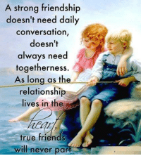 Friends, Memes, and True: A strong friendship  doesn't need daily  conversation,  doesn't  always need  togetherness.  As long as the  relationship  lives in the  true friends  will never parf