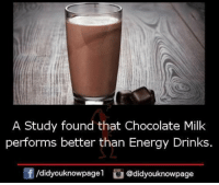 Energy, Memes, and Chocolate: A Study found that Chocolate Milk  performs better than Energy Drinks  団/didyouknowpagel  ǔ@didyouknowpage