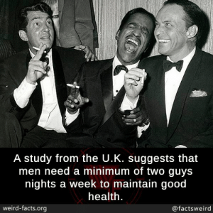 Facts, Memes, and Weird: A study from the U.K. suggests that  men need a minimum of two guys  nights a week to maintain good  health  weird-facts.org  @factsweird