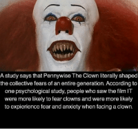 pennywise: A study says that Pennywise The Clown literally shaped  the collective fears of an entire generation. According to  one psychological study, people who saw the film IT  were more likely to fear clowns and were more likely  to expierience fear and anxiety when facing a clown.