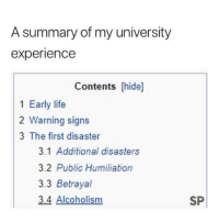 Life, Tumblr, and Http: A summary of my university  experience  Contents [hide]  1 Early life  2 Warning signs  3 The first disaster  3.1 Additional disasters  3.2 Public Humiliation  3.3 Betrayal  3.4 Alcoholism  SP @studentlifeproblems