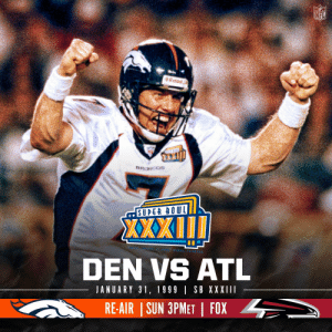 A Super Bowl MVP performance from John Elway in his final game.  Rewatch the @Broncos Super XXXIII victory TODAY at 3 pm ET on @NFLonFOX https://t.co/LdNwaTZtBm: A Super Bowl MVP performance from John Elway in his final game.  Rewatch the @Broncos Super XXXIII victory TODAY at 3 pm ET on @NFLonFOX https://t.co/LdNwaTZtBm