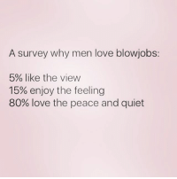 Beautiful, Love, and Quiet: A survey why men love blowjobs:  5% like the view  15% enjoy the feeling  80% love the peace and quiet Can we get the most beautiful memer on the 'gram to 500k? @thehandyj @thehandyj @thehandyj