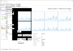 Cache, Intel, and Time: A Task Manager  Eile Options View  Processes Performance : UJ 211320  J2 Kbps A  210600  - tion over 60 seconds  J04  98% 3,39 GHZ  Intel(R) Core(TM) i7-7700HQ CPU @ 2.80GHZ  17% 3,44 GHz  Anh 11.3 15,9 GB (  Z078 224 KE  11, ,9  100%  6,0/15,9 GB (38%)  27%8 R: 120 KH  wdehillo  Diel 1 IC  *** KE  264 R: 280 Kbps  14%50 R: 176 K  Anewhilld  |Inte40,0 R: 96,0 Kbps  63%  Base speed:  3% 1 GeForce  2,80 GHz  33,44 GHZ2701 Sockets:  Cores:  17%  4  8.  Logical processors:  E265 :0(3844 206020 Virtualization:  Disabled  Hyper-V support:  Yes  Up time  256 KB  L1 cache:  3:02:06:25  L2 cache:  1,0 MB  6,0 MB  L3 cache:  A Fewer details  Open Resource Monitor Just use taskmanager to close the program they said...