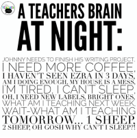 16729516_1101767706617251_3129333893218024282_n.jpg (960×960): A TEACHERS BRAIN  Alk  AT NIGHT  JOHNNY NEEDS TO FINISH HIS WRITING PROJECT  I NEED MORE COFFEE  M TIRED, I CANT SLEEP  TOMORROW... 1 SHEEP  I HAVEN'T SEEN EZRA IN 3 DAYS.  AM IDOING ENOUGH, MY HOUSE IS A MESS.  OH, I NEED NEW LABELS, BRIGHT ONES.  WHAT AMITEACHING NEXT WEEK  WAIT-WHAT AM I TEACHING  2 SHEEP, OH GOSH WHY CANT I SLEEP?1 16729516_1101767706617251_3129333893218024282_n.jpg (960×960)