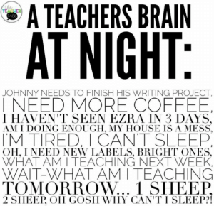 : A TEACHERS BRAIN  the  TEACUER  Lale  AT NIGHT:  JOHNNY NEEDS TO FINISH HIS WRITING PROJECT  INEED MORE COFFEE  I HAVEN'T SEEN EZRA IN 3 DAYS,  AM I DOING ENOUGH, MY HOUSE ISA MESS  TM TIRED, I CANT SLEEP  OH, I NEED NEW LABELS, BRIGHT ONES,  WHAT AM I TEACHING NEXT WEEK  WAIT-WHAT AM I TEACHING  TOMORROW... 1 SHEEP  2 SHEEP, OH GOSH WHY CAN'T I SLEEP?