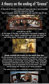 "Heaven, Life, and School: A theory on the ending of ""Grease""  At the end of ""Grease"", Sandy and Danny get into a red convertible  and drive away from the fair.  The car promptly defies the laws of gravity and flies into the sky.  How did the car fly?  At the start of the film, we see Danny and Sandy meeting on  the beach. Later, Danny explains through song that they first  met when Danny ""saved her life she nearly drowned"".  Sandy actually did drown on the beach that day.  As she drowned, her brain deprived of oxygen, she had a vivid  coma fantasy involving her summer fling Danny, where they  shared a magical year of high school together. The visions get  increasingly outlandish as time passes, until finally, as Danny  desperately tries to resuscitate her on the beach, she sees  herself flying into Heaven in her dying moments.  The entire movie was a drowning woman's coma fantasy. <p>Never Thought About It That Way.</p>"