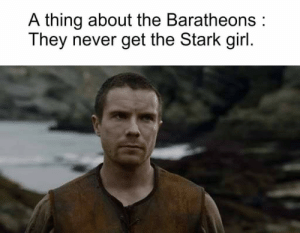 Memes, Girl, and Never: A thing about the Baratheons:  They never get the Stark girl https://t.co/87A62RJpWH