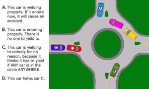 Courtesy of my local PD: A. This car is yielding  properly. If it enters  now, it will cause an  accident.  B. This car is entering  properly. There is  no one to yield to.  C. This car is yielding  to nobody for no  reason, because it  thinks it has to yield  if ANY car is in the  circle ANYWHERE  B  D. This car hates car C. Courtesy of my local PD