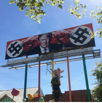 Memes, 🤖, and Powers: a This is the power of art! Putting white supremacy and capitalism on blast! 👊🏾🙌🏽✊🏽 - - - - Billboard location: Phoenix, AZ. - [📸 @lysa_sandra] whitesupremacy capitalism racism institutionalizedracism nazi HereToStay