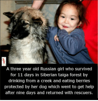 Russian Girl: A three year old Russian girl who survived  for 11 days in Siberian taiga forest by  drinking from a creek and eating berries  protected by her dog which went to get help  after nine days and returned with rescuers.