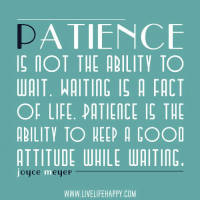 www.LiveLifeHappy.com: A TIENCE  IOT THE ABILITY TO  WAIT. WAITING IS A FACT  OF LIFE. PATIENCE IS THE  ABILITY TO HEEP A COOD  ATTITUDE WAILE WAITIN  oyce meye  WWW.LIVELIFEHAPPY COM www.LiveLifeHappy.com