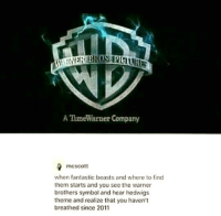 Memes, Time Warner, and Beastly: A Time Warner Company  mcscott  when fantastic beasts and where to find  them starts and you see the warner  brothers symbol and hear hedwigs  theme and realize that you haven't  breathed since 2011