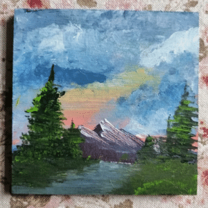 A tiny Bob Ross painting I made for painting week!: A tiny Bob Ross painting I made for painting week!