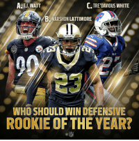 Memes, Nfl, and Steelers: A. TJ, WATT  C, TRE'DAVIOUS WHITE  B,MARSHON LATTIMORE  Steelers  SAINTE  DAR  BILLS  WHO SHOULD WIN DEFENSIVE  ROOKIE OF THE YEAR?  C@  NFL Who will win Defensive Rookie of the Year: A, B, C or D (OTHER)?  #NFLHonors https://t.co/TkAg4l6ZyT