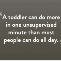 A toddler can do more  in one unsupervised  minute than most  people can do all day It's funny because it's true! lol especially now a days.