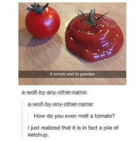 Funny, Grandpa, and Wolf: A tomato and its grandpa  a-wolf-by-any-other name  a-wolf-by-any-other-name:  How do you even melt a tomato?  I just realized that it is in fact a pile of  ketchup.