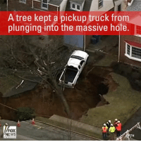 A giant sinkhole swallowed some property in a Philadelphia suburb early this morning.: A tree kept a pickup truck from  plunging into the massive hole.  FOX  NEWS  TN A giant sinkhole swallowed some property in a Philadelphia suburb early this morning.
