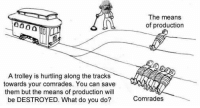 A trolley is hurtling along the tracks  towards your comrades. You can save  them but the means of production will  be DESTROYED. What do you do?  The means  of production  Comrades Horrible trolley problem