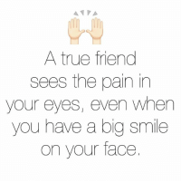 Memes, True, and Smile: A true friend  sees the pain in  your eyes, even when  you have a big smile  on your face.