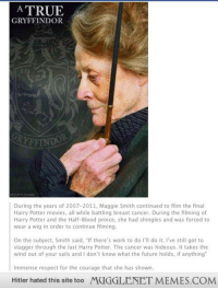 """Future, Gryffindor, and Harry Potter: A TRUE  GRYFFINDOR  RYFFI  During the years of 2007-2011, Maggie Smith continued to film the final  Harry Potter movies, all while battling breast cancer. During the filming of  Harry Potter and the Half-Blood prince, she had shingles and was forced to  wear a wig in order to continue filming.  On the subject, Smith said, """"If there's work to do I'll do it. I've still got to  stagger through the last Harry Potter. The cancer was hideous. It takes the  wind out of your sails and I don't know what the future holds, if anything  Immense respect for the courage that she has shown.  Hitler hated this site too  MUGGLENET MEMES.COM <p>There are many ways to be brave &hellip; <a href=""""http://ift.tt/140orfA"""">http://ift.tt/140orfA</a></p>"""