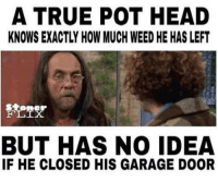 Head, Memes, and True: A TRUE POT HEAD  KNOWS EXACTLY HOW MUCH WEED HE HAS LEFT  stone  BUT HAS NO IDEA  IF HE CLOSED HIS GARAGE DOOR