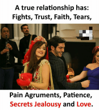 Love, Memes, and True: A true relationship has:  Fights, Trust, Faith, Tears,  Pain Agruments, Patience,  Secrets Jealousy and Love.