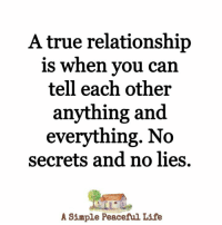 Life, Memes, and True: A true relationship  is when you can  tell each other  anything and  everything. No  secrets and no lies.  A Simple Peaceful Life <3
