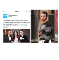 """Demi Lovato, The Onion, and Onion: a  Tweet  People Magazine  o  people  Yes, please! Joe Jonas is down for an  'R-rated"""" Camp Rock spin-off with Demi  Lovato and Nick Jonas  peoplem.ag/  JtLyloY Btw at the last post duh I know clickhole and the onion are just joke news do I care no? Is it still funny? Yes am I answering all my own questions? Maybe"""