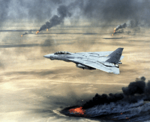 """A U.S. Navy F-14A Tomcat fighter jet flying over burning Kuwaiti oil wells during Operation Desert Storm in February 1991. Many oil wells """"caught fire in the air...when oil shot out of the ground at high pressures."""" """"At 15,000 PSI...oil comes out like an aerosol spray can rather than a garden hose."""": A U.S. Navy F-14A Tomcat fighter jet flying over burning Kuwaiti oil wells during Operation Desert Storm in February 1991. Many oil wells """"caught fire in the air...when oil shot out of the ground at high pressures."""" """"At 15,000 PSI...oil comes out like an aerosol spray can rather than a garden hose."""""""