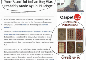 A..um... an Article about child labour on Indian rugs... With an advertisement for handmade Persian rugs.: A..um... an Article about child labour on Indian rugs... With an advertisement for handmade Persian rugs.