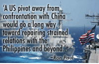 Obama's Pivot to Asia Hits a Roadblock in the Philippines - my latest column is out: http://bit.ly/2dBKNAa: A US pivot away from  confrontation with China  would go a long way  toward repairing strained  relations with the  Philippines and beyond  Ron Pau Obama's Pivot to Asia Hits a Roadblock in the Philippines - my latest column is out: http://bit.ly/2dBKNAa