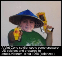the fear in his eyes...: A Viet Cong soldier spots some unaware  US soldiers and prepares to  attack.Vietnam, (colorized) the fear in his eyes...