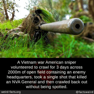 Facts, Memes, and Weird: A Vietnam war American sniper  volunteered to crawl for 3 days across  2000m of open field containing an enemy  headquarters, took a single shot that killed  an NVA General and then crawled back out  without being spotted.  weird-facts.org  @factsweird