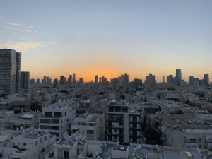 A view over Tel Aviv during the Sunrise.: A view over Tel Aviv during the Sunrise.