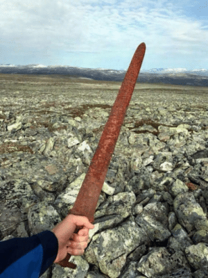 A Viking sword dating back over 1,000 years ago was discovered by reindeer hunters at an elevation of 5,400 feet, atop a mountain in Southern Norway.: A Viking sword dating back over 1,000 years ago was discovered by reindeer hunters at an elevation of 5,400 feet, atop a mountain in Southern Norway.