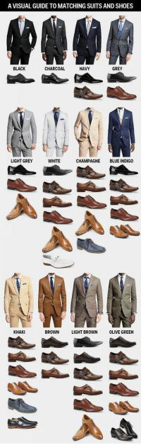 lolzandtrollz:Take Note, Guys: A VISUAL GUIDE TO MATCHING SUITS AND SHOES  BLACK  CHARCOAL  NAVY  GREY  LIGHT GREY  WHITE  CHAMPAGNE BLUE INDIGO  KHAKI  BROWN LIGHT BROWN OLIVE GREEN lolzandtrollz:Take Note, Guys