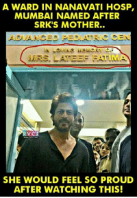 Thankful gesture to SRK by the hospital for his social work!: A WARD IN NANAVATI HOSP,  MUMBAI NAMED AFTER  SRK'S MOTHER.  ADVANCED PED. R. CEN  MERS  RVCJ  SHE WOULD FEEL SO PROUD  AFTER WATCHING THIS! Thankful gesture to SRK by the hospital for his social work!