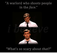 """Target, Tumblr, and Blog: """"A warlord who shoots people  in the face.""""  """"What's so scary about that?"""" whatsallthishappyhorseshit:  The Book of Mormon"""