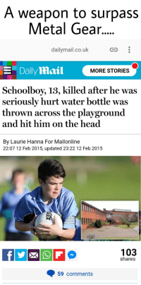 dailymail.co.uk: A weapon to surpass  Metal Gear...  dailymail.co.uk  CS  E Daily aail  MORE STORIES  Schoolboy, 13, killed after he was  seriously hurt water bottle was  thrown across the playground  and hit him on the head  By Laurie Hanna For Mailonline  22:07 12 Feb 2015, updated 23:22 12 Feb 2015  103  shares  59 comments