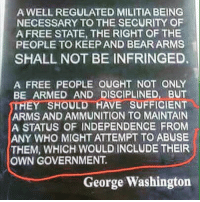 Guns, Memes, and Militia: A WELL REGULATED MILITIA BEING  NECESSARY TO THE SECURITY OF  A FREE STATE, THE RIGHT OF THE  PEOPLE TO KEEP AND BEAR ARMS  SHALL NOT BE INFRINGED.  A FREE PEOPLE OUGHT NOT ONLY  BE ARMED AND DISCIPLINED, BUT  THEY SHOULD HAVE SUFFICIENT  ARMS AND AMMUNITION TO MAINTAIN  A STATUS OF INDEPENDENCE FROM  ANY WHO MIGHT ATTEMPT TO ABUSE  THEM, WHICH WOULD INCLUDE THEIR  OWN GOVERNMENT  George Washington UncleSamsMisguidedChildren ZeroFucks USMCNation HillaryForPrison2016 hillaryforprison Guns USMC SemperFi USMCLIFE IGTactical Veteran USA Grunts GunPorn OUTLAW USMCVETERAN Tactical SemperFidelis NRA MakeAmericaGreatAgain MolonLabe 2A USMarines 03Life 0311 SecondAmendment Conservative SheepDog USA MERICA Oathkeepers