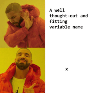 Mean, Thought, and Name: A well  thought-out and  fitting  variable name I mean, its a lot easier than coming up with something creative