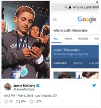 """Google, Justin TImberlake, and News: a  who is justin tim  Google  who is justin timberlake  ALL NEWS IMAGES VID  Justin Timberlake  American singer-songwriter  OVERVIEW  SONGSALBUM  Jamie McCarty  @JamieMcCarty  8:42 PM - Feb 4, 2018 Los Angeles, CA  015 t 974 1,474 <p>Invest? via /r/MemeEconomy <a href=""""http://ift.tt/2EF83w9"""">http://ift.tt/2EF83w9</a></p>"""