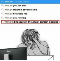 Google, Yo, and Covers: a why are Google Search  a why are you like this  a why are manhole covers round  a why are firetrucks red  a why are you running  why are dinosaurs in the attack on titan opening YO i still need to watch the last ep of aot but i see spoilers everywhere on iG YIKES - mell-@Animemikku