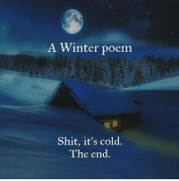 9gag, Memes, and Shit: A Winter poem  Shit, it's cold.  The end You know it's cold outside when you go outside and it's cold. Follow @9gag winter