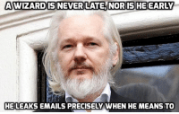 Memes, True, and Email: A WIZARD IS NEVER LATE, NOR IS HE EARLY  HE LEAKS EMAILS PRECISELY WHEN HE MEANS TO SO TRUE