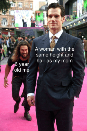 Meme, Relatable, and Old: A woman with the  same height and  air as my mom  6 yean  old me Relatable meme