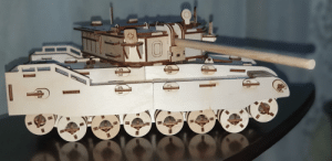 A wooden tank is made from a kit by my kid: A wooden tank is made from a kit by my kid