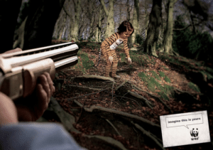 A WWF environmental campaign poster than is supposed to portray the dangers of poaching animals 7: A WWF environmental campaign poster than is supposed to portray the dangers of poaching animals 7